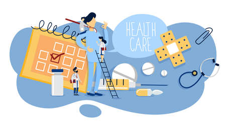 Healthcare concept. Idea of doctor consultation and medical treatment. Medical staff with equipment. Flat vector illustration