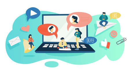 Chatting concept. People sitting on the big laptop computer and chat using mobile phone and social network. Modern technology concept. Flat vector illustration