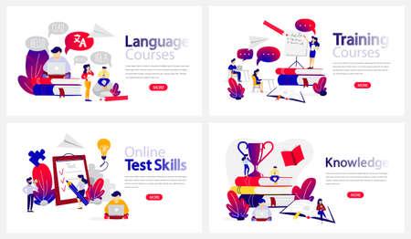 Conjunto de banners de cursos de educación en línea. Habilidades de estudio y evaluación de idiomas en Internet. Tecnología inalámbrica moderna. Ilustración de vector plano aislado Ilustración de vector