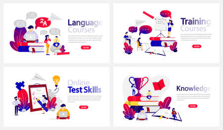 Online education courses banner set. Language study and testing skills in the internet. Modern wireless technology. Isolated flat vector illustration Çizim
