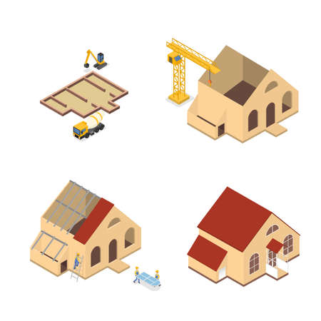 Workers building a large wooden house illustration