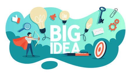 Big idea concept. Creative mind and brainstorm. Light bulb as a metaphor of idea. Businessman in red cloak standing with bow. Flat vector illustration