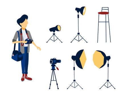 Male photographer and different photography equipment for studio set. Camera and chair, softbox and light. Isolated flat vector illustration