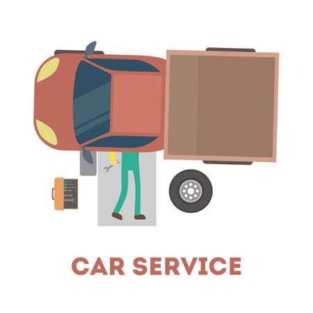 Mécanicien allongé sous la voiture et réparant l'automobile avec des outils. Concept de service de voiture. Moteur de fixation de travailleur professionnel. Illustration vectorielle plane isolée