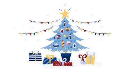 Decorated christmas tree with gifts under it. Winter holiday and new year celebration. Isolated flat vector illustration