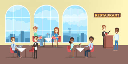 Restaurant interior in a hotel with people inside. Visitors sitting at the table and having lunch or dining. Flat vector illustration