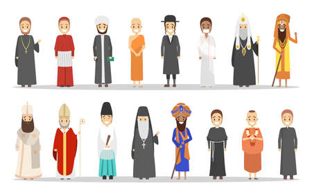People of different religion. Collection of religious men