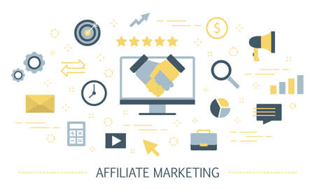 Affiliate marketing concept. Idea of partnership and mutual business promotion. Sales increase through advertising. Isolated vector illustration Vecteurs