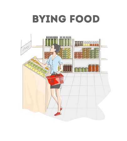 Pretty woman bying food in grocery store. Girl with shopping cart choosing lemon. Customer in supermarket. Isolated vector illustration
