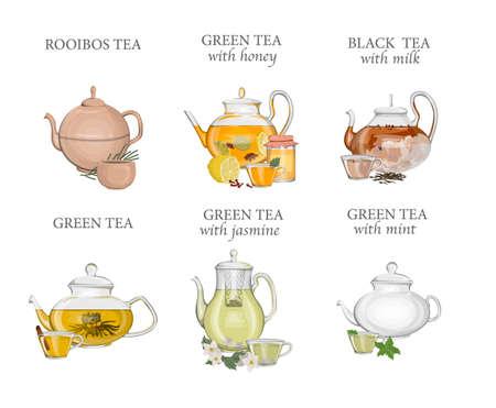 Teesorten eingestellt. Wasserkocher oder Teekanne mit Heißgetränk und Keramik- oder Glastasse. Grüner und schwarzer Tee. Isolierte Vektorillustration Vektorgrafik