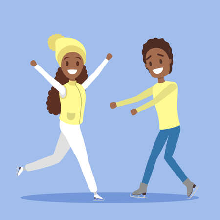 Cute african american romantic couple in warm clothes skate together outdoors. Winter activity and professional sport. Flat vector illustration Vectores