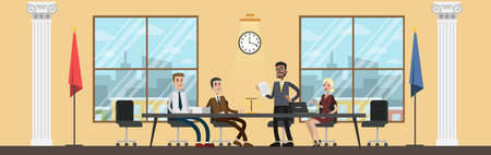 Court building interior with people on meeting. Attorney or lawyer in the conference room discuss trial process. Vector flat illustration