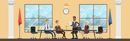 Interno della costruzione di corte con persone in riunione. Un avvocato o un avvocato nella sala conferenze discute il processo. Vector piatta illustrazione