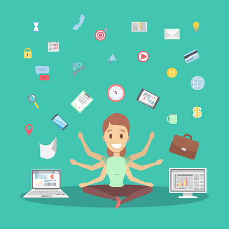 Shiva business woman in lotus pose having break at work and meditate. Happy multitasking office worker with many hands. Isolated flat vector illustration Ilustração