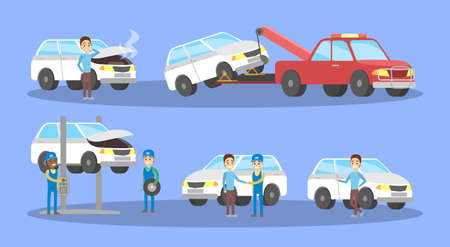 Car service set. Mechanics repair broken white automobile and change tire in garage. Engine diagnostic and fixing. Flat vector illustration
