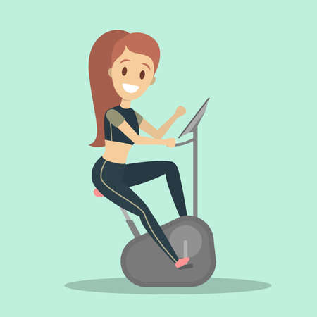 Woman in black sportswear training on the exercise bike in the gym. Sport and healthy lifestyle. Isolated flat vector illustration