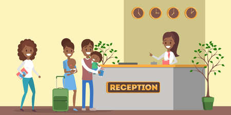 African american people standing in queue at the hotel reception. Room reservation or booking. People on a vacation. Flat vector illustration Stock Illustratie
