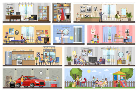 House building interior plan with the garage. Home with kitchen and bathroom, bedroom and living room. Barbeque on the backyard. Vector flat illustration Vector Illustratie