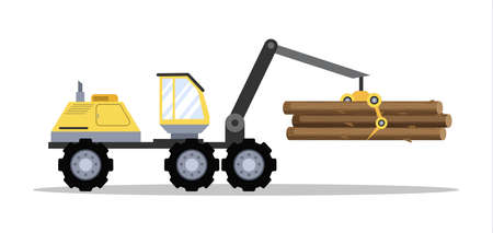 Big yellow tractor with wood or lumber. Logistics and transportation. Isolated vector flat illustration Vector Illustratie