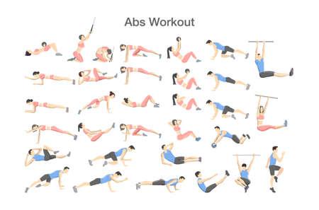 Entraînement ABS pour hommes et femmes. Exercice de sport pour des abdos parfaits. Corps en forme et mode de vie sain. Entraînement musculaire. Illustration vectorielle isolé