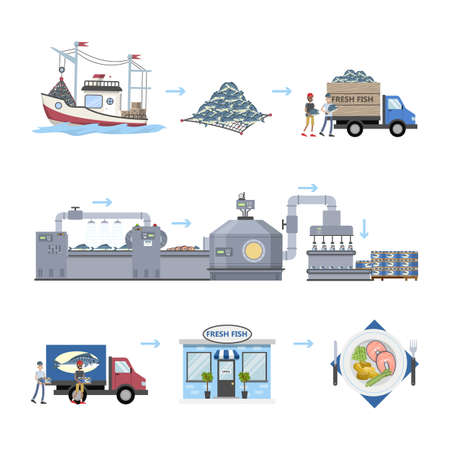 Seafood production process. From fishing to ready product in the store. Seafood making on the automated machinery line. Isolated vector flat illustration Ilustração Vetorial
