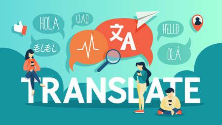 Traduttore in linea nel telefono cellulare. Traduci in lingua straniera