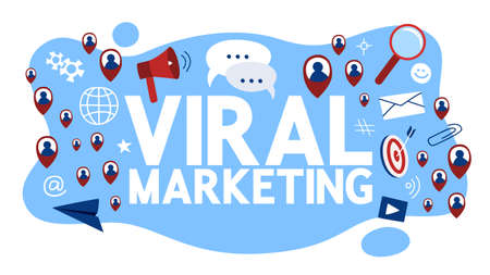 Viral marketing concept. Idea of advertising and promotion. People spread information about product. Flat vector illustration