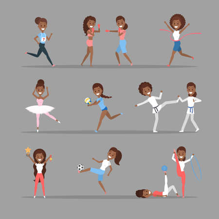 Set of sports women. African american girls doing different kind of sport: play basketball, boxing, running and winning the competition. Gymnastics and ballet. Flat vector illustration Vectores