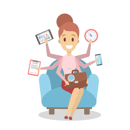 Multitasking business woman. Effective and talented employee or workaholic. Doing many things at once. Isolated flat vector illustration