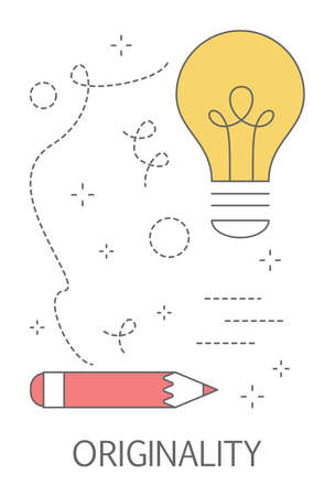 Originality concept. Idea of being unique and individual. Show talent and creativity and become successful. Isolated abstract vector illustration