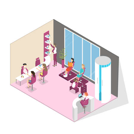 Manicure and pedicure fashion salon interior. Woman sitting in the chair and making professional manicure. Nail polish and painting. Beauty procedures. Isolated vector isometric illustration Foto de archivo - 110043994