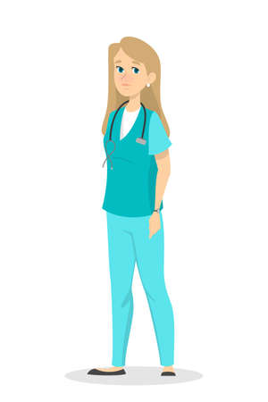 Female young blonde nurse in uniform standing. Pretty medical or hospital worker with stethoscope. Isolated vector illustration in cartoon style.