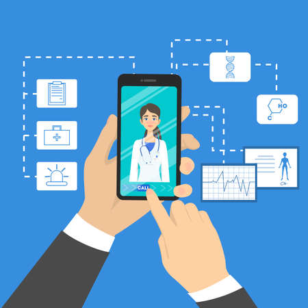 Online doctor concept. Consultation with professional in the internet through smartphone. Healthcare and treatment. Vector illustration in cartoon style