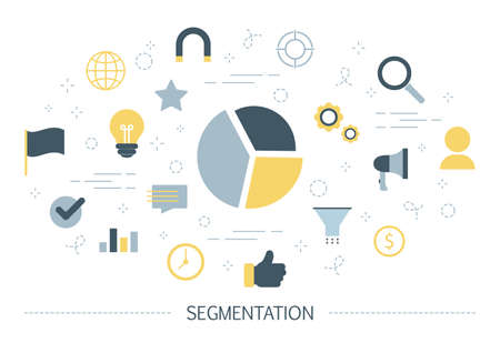 Segmentation concept. Dividing people into different segments for business growth. Advertising product for each segment in different ways. Management and marketing. Isolated flat vector illustration Banque d'images - 108129443