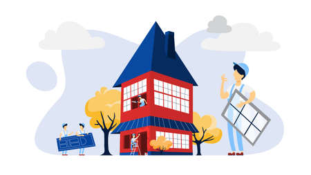 Workers building a large red house illustration Illustration