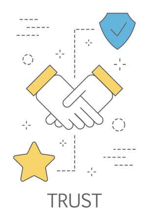 Notion de confiance. Poignée de main comme symbole de loyauté et d'honnêteté. Construire une relation d'affaires sur la confiance et la confiance. Illustration vectorielle abstraite isolée