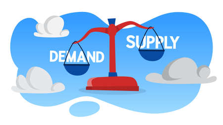 Demand and supply on the red scales. Comparison and measurement. Supply is heavier than demand. Flat vector illustration