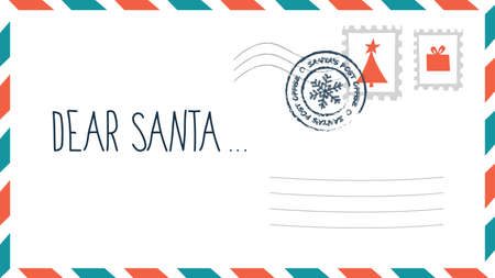 Dear Santa christmas letter in envelope with stamp. Holiday child wish list for Santa Claus. Blank postcard. Flat vector illustration Illustration