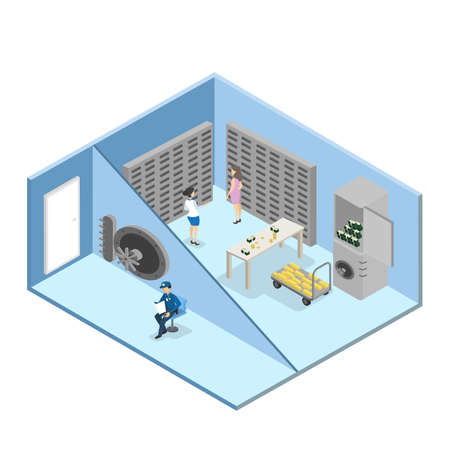 Bank vault room interior with guard and workers. Safety room with money. Isolated vector isometric illustration
