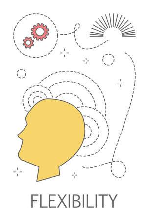 Concepto de flexibilidad. Idea de pensamiento creativo y mente flexible. Ilustración de vector