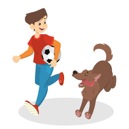 Boy in red shirt and blue jeans running with his dog and holding football ball. Child having fun with pet. Isolated vector illustration in cartoon style.