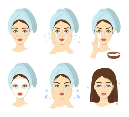 How to apply face mask instrustion for women. Step-by-step guide to facial cream mask usage. Skin care and acne treatment. Isolated vector illustration