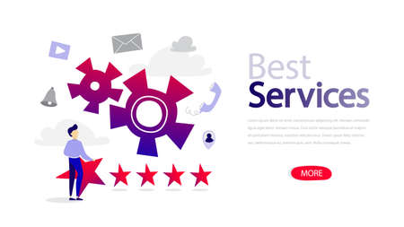 Best services horizontal banner for your website. Customer review and feedback. Service ranking. Flat vector illustration