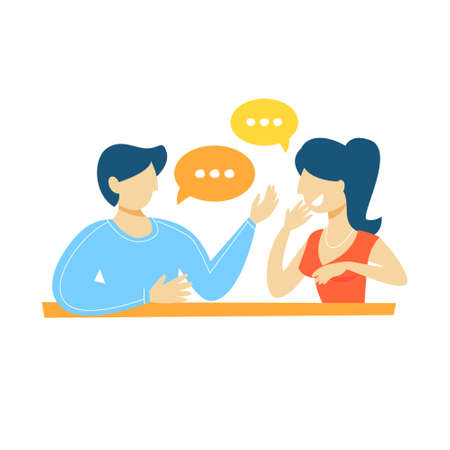 People talking to each other. Dialog betwen man and woman with speech bubbles. Communication and conversation. Isolated flat vector illustration