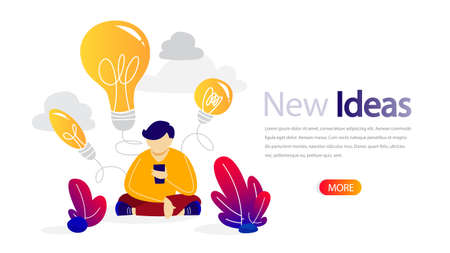 New idea horizontal banner for your website. Online training for business improvement. Education and quality growth, project planning and team building. Isolated flat vector illustration