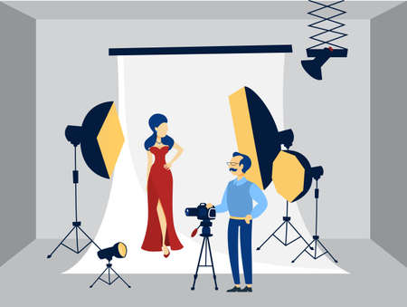 Pretty woman in red dress making photoshoot on the white background with various equipment around such as softbox and camera. Flat vector illustration