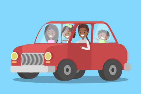 Happy african american family in the red car. People on a trip. Parents and children have an adventure. Flat vector illustration Vetores