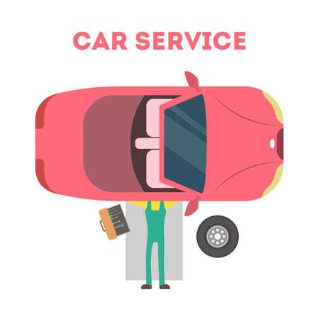 Mécanicien allongé sous une voiture rouge et réparant une automobile avec des outils. Concept de service de voiture. Moteur de fixation de travailleur professionnel. Illustration vectorielle plane isolée Vecteurs