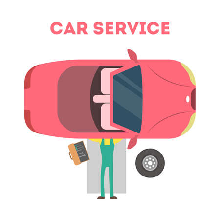 Mechanic lying under red car and repairing automobile with tools. Car service concept. Professional worker fixing engine. Isolated flat vector illustration Ilustración de vector