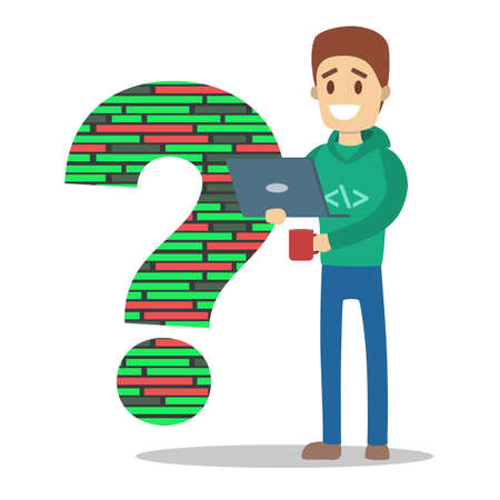 Programmer or freelancer standing and holding laptop computer and drinking coffee. Computer work. Man standing in front of big question mark. Isolated flat vector illustration